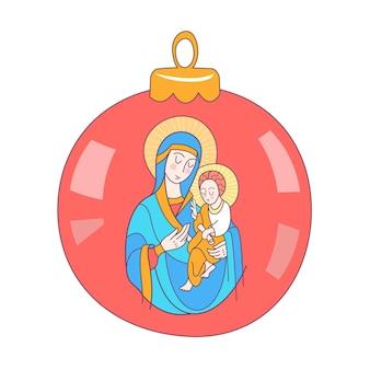 Maryja panna i dzieciątko jezus na balu choinki.