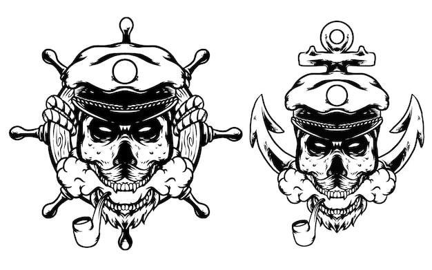 Marynarz czaszki z kotwicą