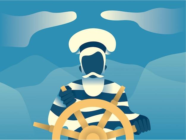 Marynarz, marynarz, płaskie ilustracja.