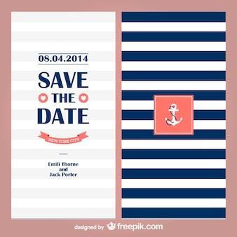 Marynarz motyw ślubu zaproszenie