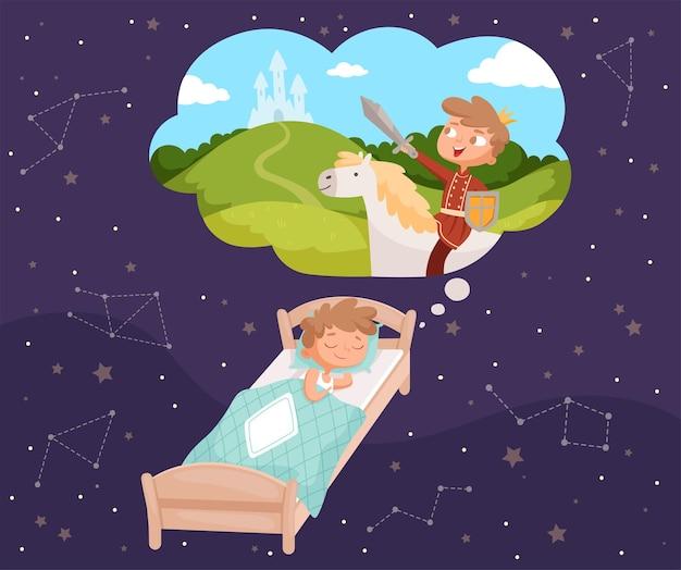 Marzenia dziecka. śpiące dzieci marzy chmury wektorowe ilustracje kreskówek. śpij kreskówka marzeń dziecka, dzieciństwo w chmurze snu