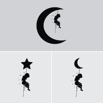 Marzenie dzieci wisi na księżycu i gwiazdach