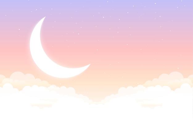 Marzycielskie bajki księżyc gwiazda i chmury piękne tło