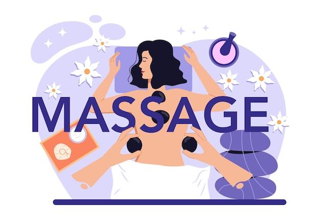 Masaż typograficzny nagłówka. procedura spa w salonie kosmetycznym. masaż pleców i terapia relaksacyjna. terapeuta masuje klienta na stole. ilustracja na białym tle płaski