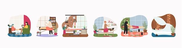Masaże i relaksujące zabiegi pielęgnacyjne ciała spa, mieszkanie. osoby wykonujące masaż głowy, pleców, nóg, antycellulitowy lpg, kąpiące się. terapia bańkami. osteopatia, fizjoterapia