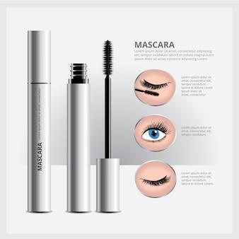 Mascara packaging with eye makeup
