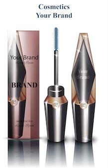 Mascara wektor realistyczne pakowanie makiety. reklamy kosmetyczne kosmetyków. pędzel i oryginalny kształt