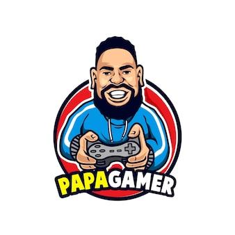 Mascot papa gamer używa logo kurtki sportowej treningowej