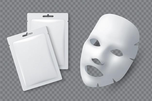Maseczka kosmetyczna do twarzy. prześcieradło bawełniane dla urody kobiety. biała maska do oczyszczania twarzy i opakowanie realistyczne 3d. maseczka kosmetyczna do kobiecej skóry twarzy ilustracji