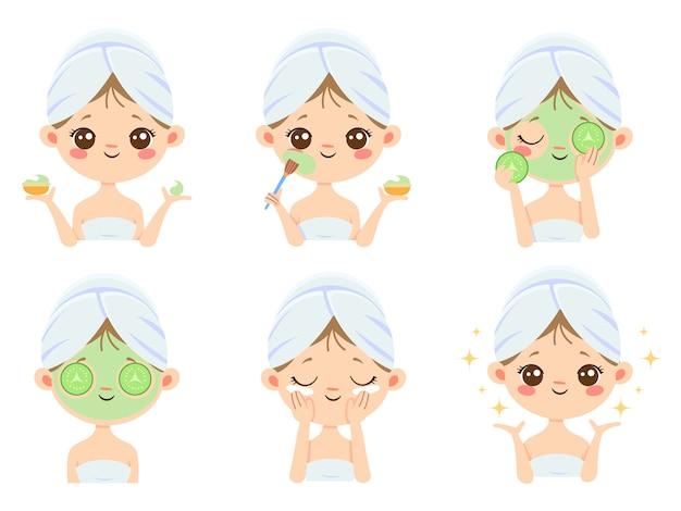 Maseczka kosmetyczna. pielęgnacja skóry kobiety, czyszczenie i mycie twarzy. kreskówka maski przeciwtrądzikowe