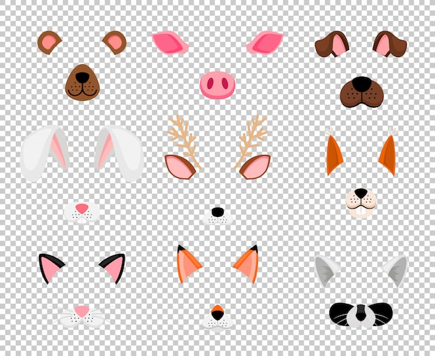 Maseczki dla zwierząt ustawione na przezroczyste