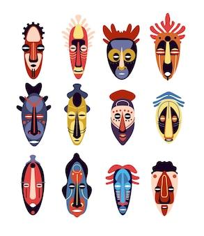 Maska afrykańska. tradycyjne rytualne lub ceremonialne etniczne hawajskie, azteckie maski na twarz, aborygeński totem, kolorowy płaski wektor zestaw. ilustracja maska etniczna, rytuał plemienny, kultura tradycyjna