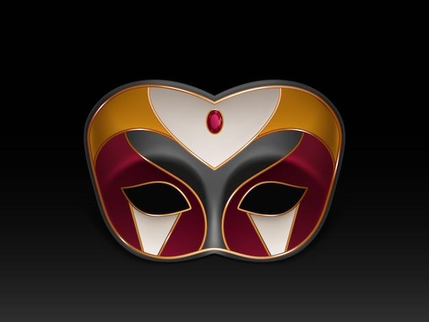 Maska colombina z pół twarzy ozdobiona kamieniem szlachetnym, czerwonym rubinem i złoceniem