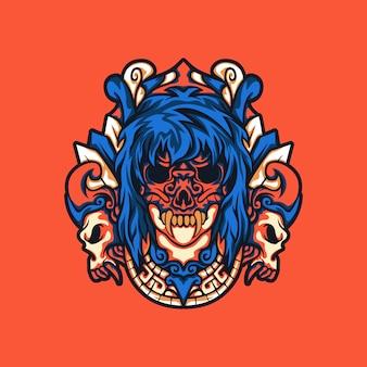Maska czaszki kobiety z etnicznym ornamentem