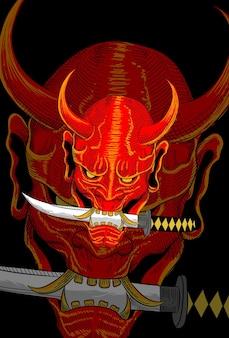 Maska demona z grafiką ilustracji miecz samurajski