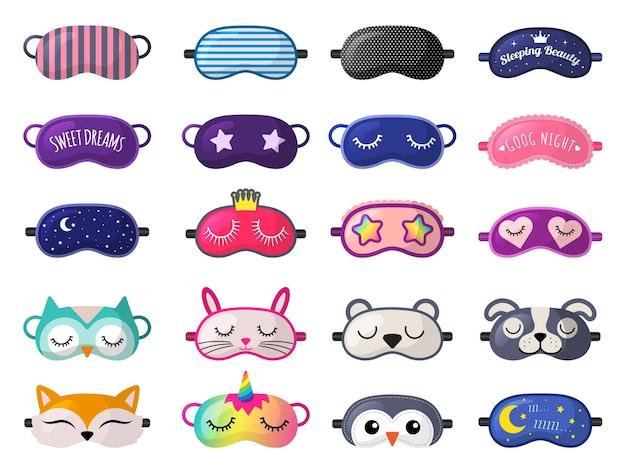 Maska do spania. śmieszne ubrania na nocny odpoczynek kolekcja akcesoriów relaks na noc.