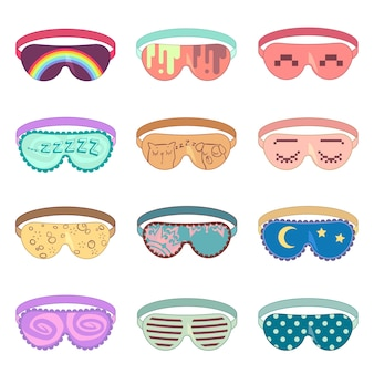 Maska do spania wektor zestaw. maska ochronna, spanie relaksacyjne, maska dodatkowa do relaksu, ilustracja miękkiej maski do oczu
