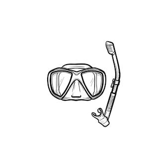 Maska i fajka do pływania w basenie ręcznie rysowane konspektu doodle ikona. letnie wakacje sprzęt do pływania w basenie wektor szkic ilustracji do druku, mobile i infografiki na białym tle.