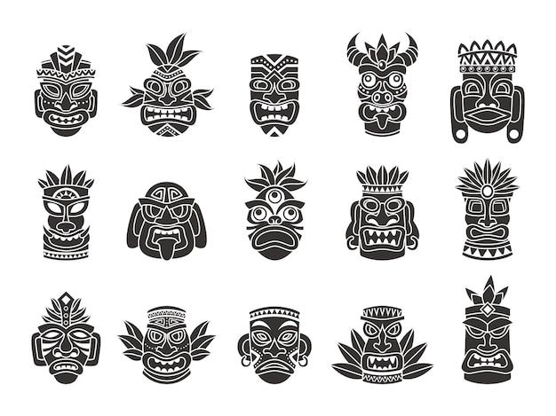Maska idola. czarna sylwetka rytualny totem plemienny bóg tiki starożytna kultura indyjska lub afrykańska, tradycyjny egzotyczny symbol majów lub azteków, polinezyjski wzór tatuażu maski na twarz wektor na białym tle zestaw