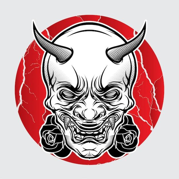 Maska japońska tatuaż