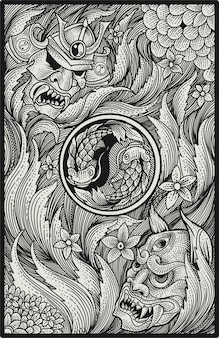 Maska japońskiego samuraja i oni na grawerowanym wzorze