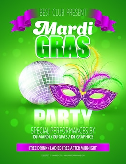 Maska karnawałowa mardi gras. szablon plakatu.