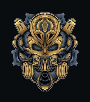 Maska mecha dla logo sportowego e lub wektora maskotki do gier