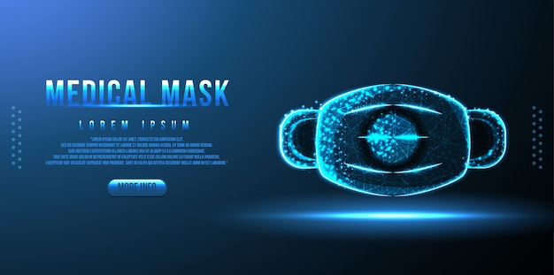 Maska medyczna low poly wireframe