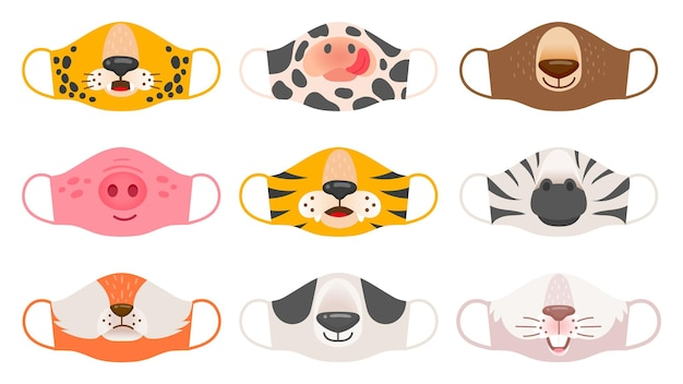 Maska medyczna z twarzami zwierząt. tygrys, świnia i zebra, niedźwiedź i królik, lis i krowa dla dzieci covid-19 maski ochronne wektor zestaw. maska ochronna na twarz zwierzęcia przed ilustracją koronawirusa