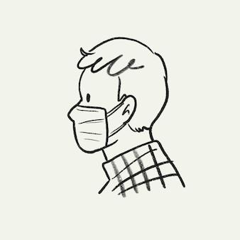Maska na twarz człowieka doodle, nowa normalna ilustracja wektorowa