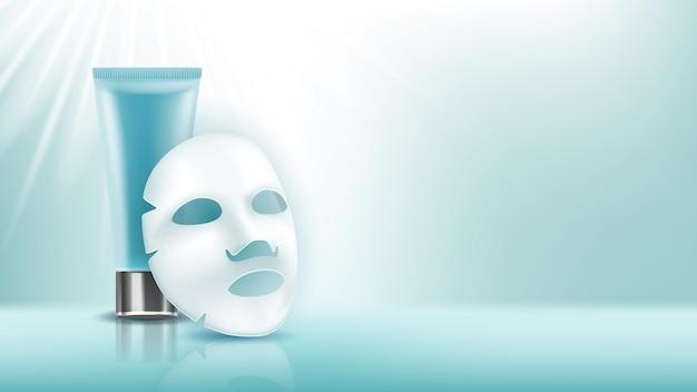 Maska na twarz i kremowa pusta tuba kopia przestrzeń wektor
