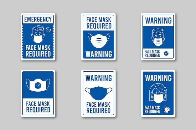 Maska na twarz wymagana kolekcja znaków