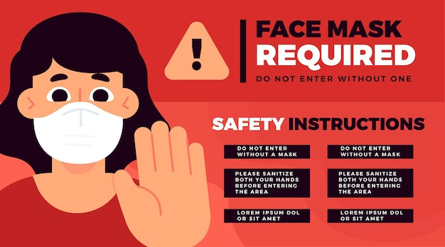 Maska na twarz wymagany szablon banera