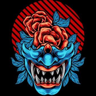 Maska samuraja japonia z różą
