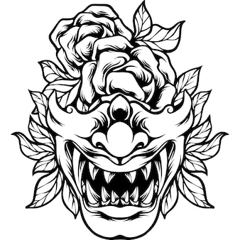Maska samuraja japonia z sylwetką róży