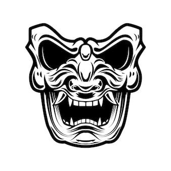 Maska samuraja na białym tle. element projektu logo, etykieta, godło, znak, plakat, koszulka.