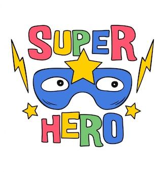 Maska superbohatera z gwiazdą, ilustracja kreskówka dla dzieci dziecko.