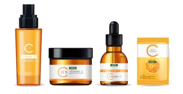 Maska witaminy c, zestaw kremów i serum, firma kosmetyczna, butelka do pielęgnacji skóry, realistyczne opakowanie