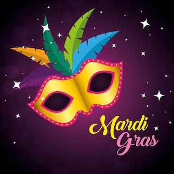 Maska z dekoracją piór do mardi gras