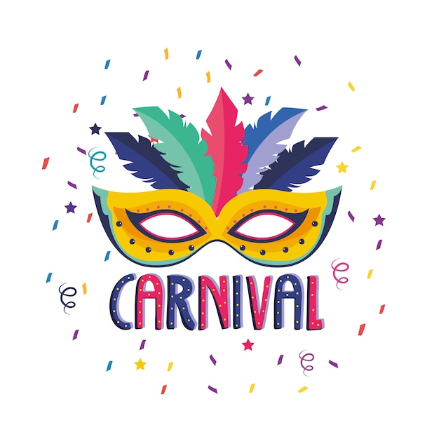 Maska z dekoracją piór do obchodów festiwalu