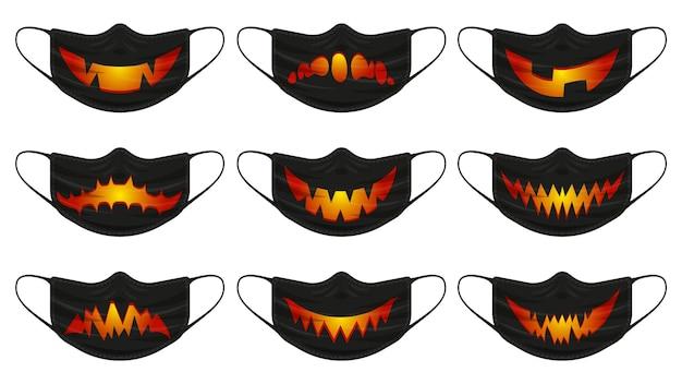 Maska z dyni halloween. maski ochrony twarzy z halloween upiorne twarze dyni na białym tle wektor zestaw ilustracji. happy halloween straszna maska na twarz. maska ochronna przed wirusem, upiorna twarz halloween