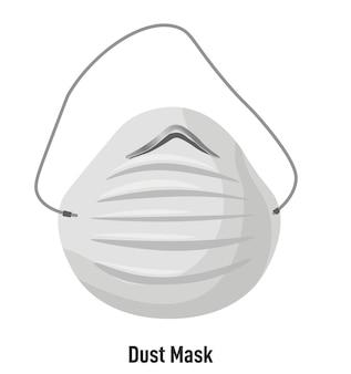 Maska z paskami i filtrem, przeciw kurzowi i smogowi. izolowany obiekt do użytku osobistego w miastach lub w pracy. bezpieczne oddychanie, choroby układu oddechowego i alergia. środki ochronne, wektor w stylu płaskim