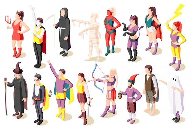 Maskaradowe izometryczne ikony zestaw z ludźmi noszącymi kostiumy mumia szałwia demon duch superbohater pirat gnome na białym tle