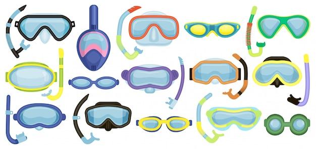 Maski do pływania kreskówka zestaw ikon. kreskówka na białym tle zestaw ikon podwodne okulary.
