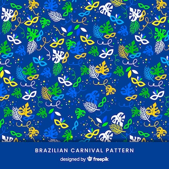 Maski i liście brazylijski wzór karnawał