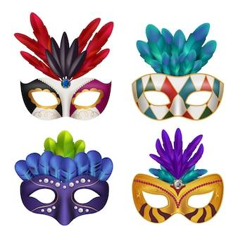 Maski karnawałowe. święto maskarady maskowane kobiece realistyczne zdjęcia 3d