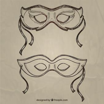 Maski karnawałowe w stylu szkic
