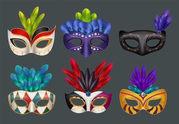 Maski maskaradowe realistyczne. zamaskowany moda party karnawał realistyczne na białym tle