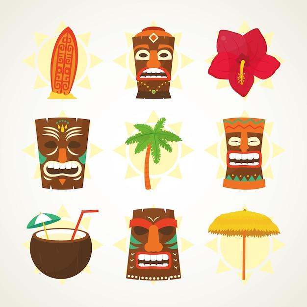 Maski tiki i zestaw ikon hawajskich