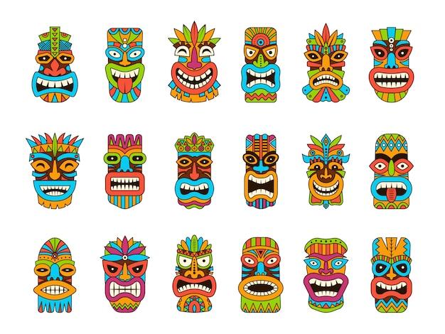 Maski tiki. tribal hawaii totem afrykańskie tradycyjne drewniane symbole kolorowe maski ilustracje